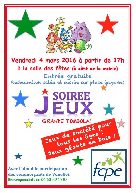 Affiche Soirée Jeux 4 mars 2016